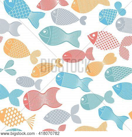 Funny Cartoon Fishes Vector Seamless Background, Cute Childish Pattern For Children Textile Or Wrapp