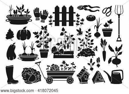 Garden Black Glyph Cartoon Set. Vegetables Growing Soil In Pot, Rustic Fence. Rubber Boots Pitchfork