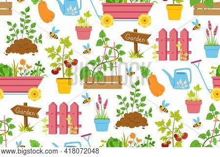 Gardening Tools Seamless Pattern. Fence, Vegetable Seedlings And Rubber Wooden Arrow Pointer. Cartoo