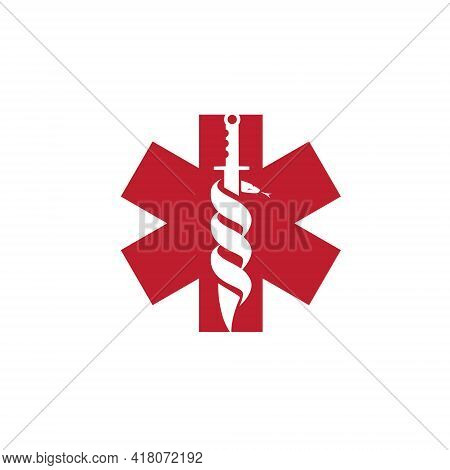 Combat Knife And Snake  Negative Space Style Vector Illustration. A Medical Symbol.
