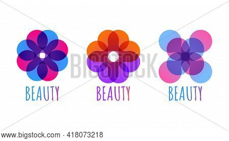 Abstract Geometric Logo For Beauty Salon In Shape Of Flower. Set Of Beautiful Color Geometric Icons