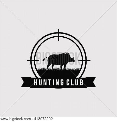 Hunting Wild Boar, Hog Logo Vector Illustration Design