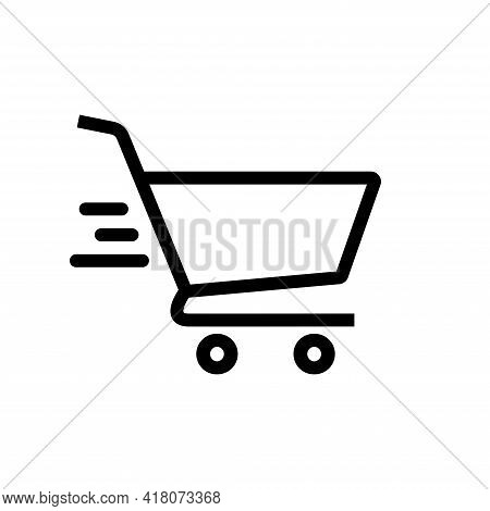 Shopping Cart Icon Vector. Shopping Cart Illustration For Web, Mobile Apps. Shopping Cart Trolley Ic