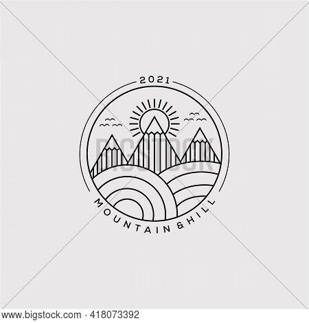 Minimalist Mountain, Sunburst, And Hill Line Art Logo Vector Illustration Design
