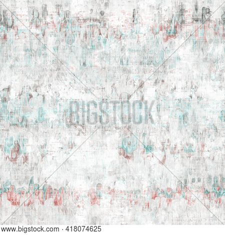Mottled Grunge Blotch Peeling Wall Pattern Background. Worn Aqua Blue Grey Rustic Repeat Swatch. Sea