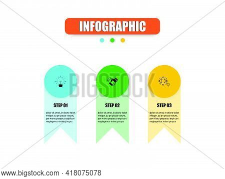 Concept Infographic Circles, Rectangles Come Together To Presents Three Steps. Vector Design Present