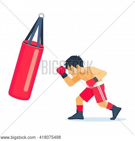 Boy Boxer With Big Bags Of Sand Boxing, Exercising. Fitness, Sport, Exercise, Will Power And The Con