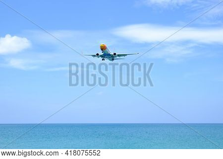 Phuket Thailand April 22, 2021: - Nok Air Flight Is The Budget Airline Of Thailand The Plane Is Land