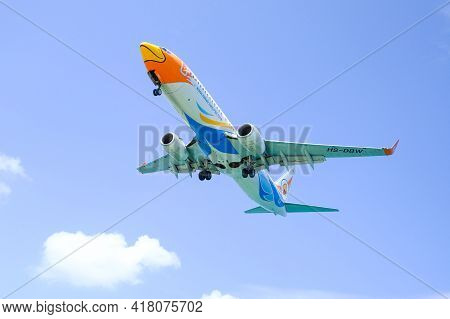 Bangkok Thailand April 22, 2021: - Nok Air Flight Is The Budget Airline Of Thailand The Plane Is Lan