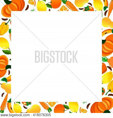 Frame On A Card With Fruits And Vegetables. Colorful Border With Fresh Pumpkin, Apples And Pears, Ci