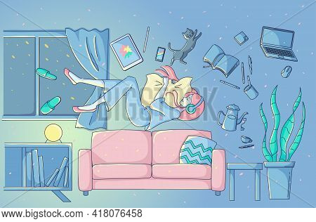 A Woman Flying While Sleeping On The Sofa In Her Room At Night. Stay Home.