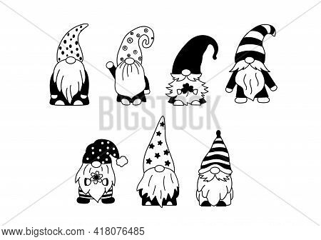 Set Of Little Garden Gnomes. Collection Of Cute Holidays Elves With Hats. Vector Illustration. Drawi