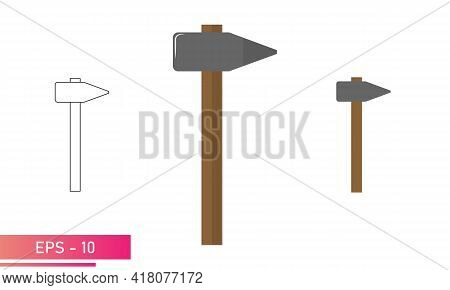 A Set Of Sledgehammers, With A Pointed Side And A Wooden Handle. Realistic And Linear Design. On A W