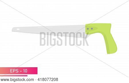 A Small Carpenter Saw With A Green Handle. Realistic Design. On A White Background. Carpenter Tools.
