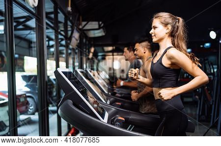 Sporty Group Running Cardio On Treadmills Exercise Burning Calorie In Fitness Gym Fit Body Healthy L