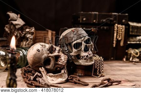 Pirate With Human Skull. Treasure Chest And Gold. Discovery Equipment And Explorer For Disappear For