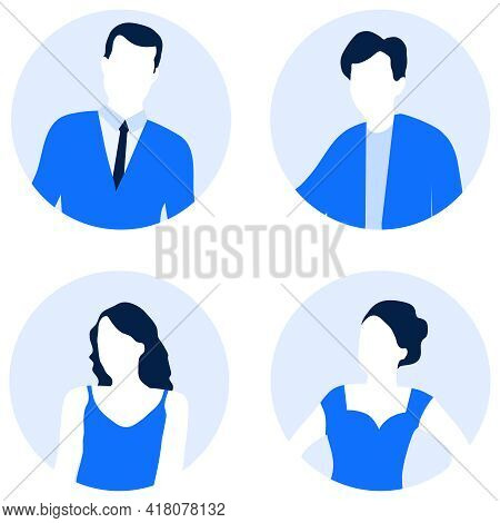 Avatar For The Site. Set Of Avatars Of Men And Women. Vector Illustration. Vector.