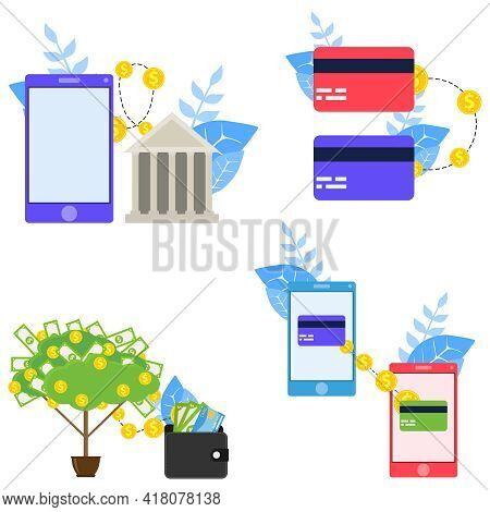 Banking, Money Transfers. Transfer Of Money Between Bank Cards. Vector Illustration. Vector.