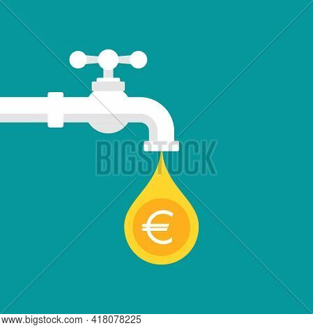 Tap Or Faucet With Euro Coin As Drop. Money Resource, Passive Income Concept. Finance Flow, Easy Ear