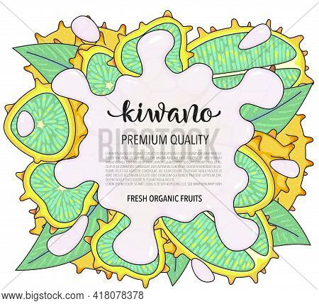 Vector Background With Kiwano, Whole And Pieces - Vector Stock Illustration Isolated On White Backgr