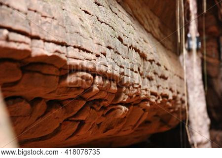 The Geological Phenomeno Brown Or Red Stone Different Shape And Size In Buengkan Thailand