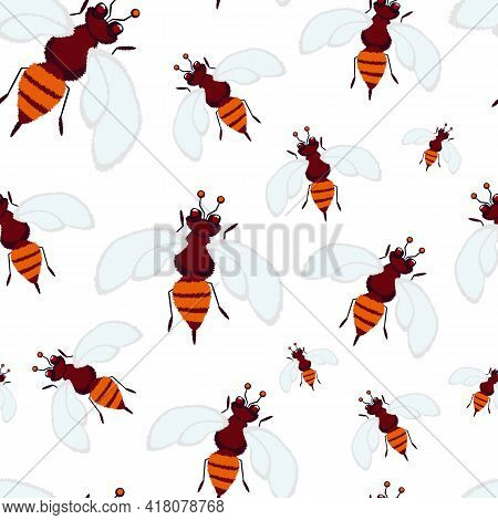 Bees Seamless Pattern. Wasps Seamless Pattern. Cute Natural Background Of Bees, For Fabric, For Wrap