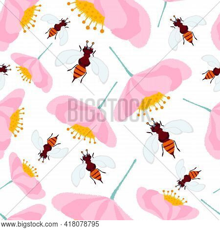 Floral Seamless Pattern With Bees On A White Background. White Isolated Background Of Wasps And Cute