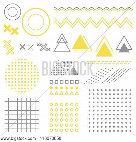 Separate Geometric Elements Of Memphis Style With Fill And Stroke, Gray And Yellow. Geometric Isolat