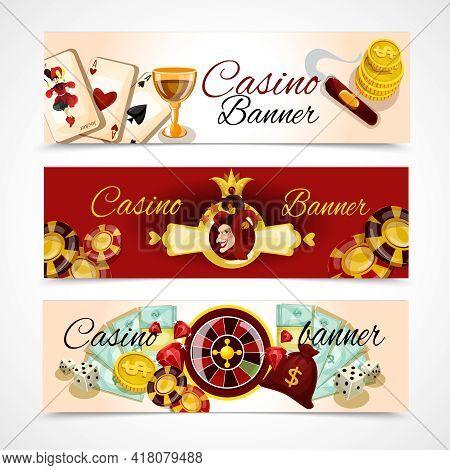 Casino Horizontal Banner Set With Roulette Dice Blackjack Poker Elements Isolated Vector Illustratio