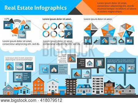 Real Estate Infographics Set With Commercial Property Apartment Symbols And Charts Vector Illustrati