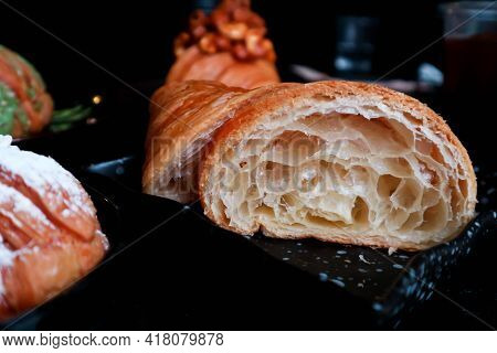 Croissant, French Croissant And Croissant With Cashew Nut Topping