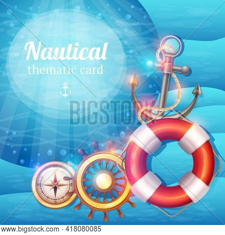 Nautical Background With Sailing Travel Marine Discovery Sea Adventures Symbols Vector Illustration