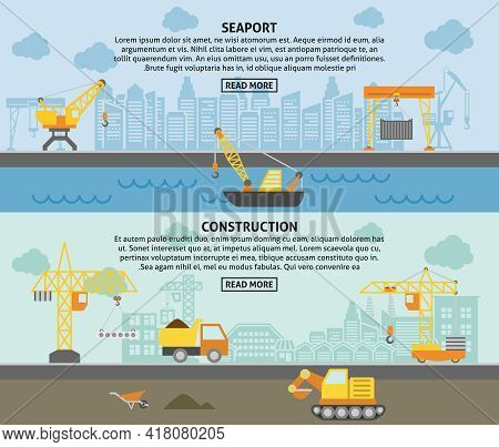 Harbor Freight Pickup Crane And Building Construction Tower Crane Flat Horizontal Banners Set Abstra