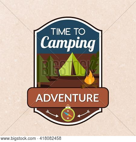 Summer Camping Emblem With Tent Fireplace And Compass Vector Illustration