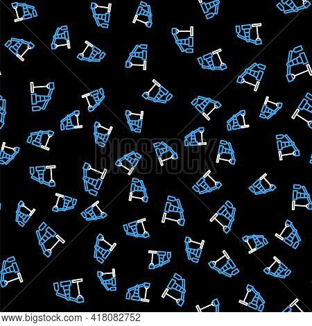 Line Oil Pump Or Pump Jack Icon Isolated Seamless Pattern On Black Background. Oil Rig. Vector