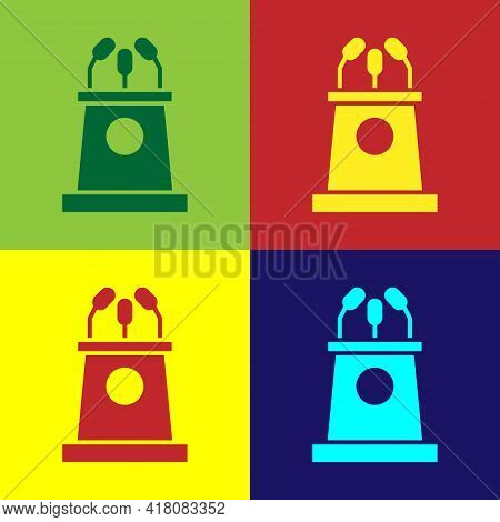 Pop Art Stage Stand Or Debate Podium Rostrum Icon Isolated On Color Background. Conference Speech Tr