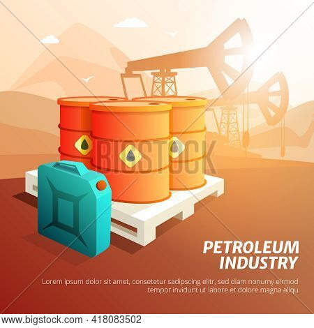 Petroleum Industry Facilities Composition Isometric Poster With Oil Storage Tanks Canisters And Cont