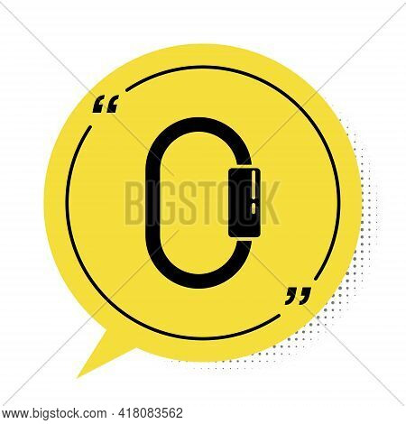 Black Carabiner Icon Isolated On White Background. Extreme Sport. Sport Equipment. Yellow Speech Bub