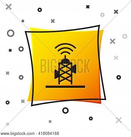 Black Wireless Antenna Icon Isolated On White Background. Technology And Network Signal Radio Antenn