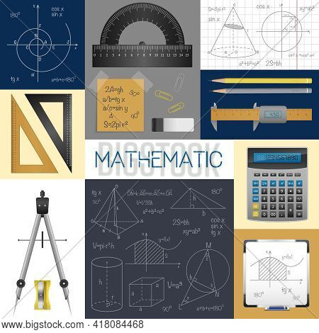 Mathematics Science Concept With Rulers Copybook Compass Pencils Calculator Formulas And Diagrams Is