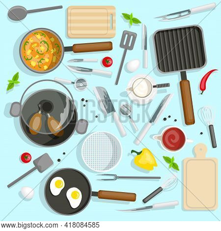 Cooking Top View Set. Chef Workplace Vector Illustration. Kitchen Utensils Cartoon Symbols. Kitchen