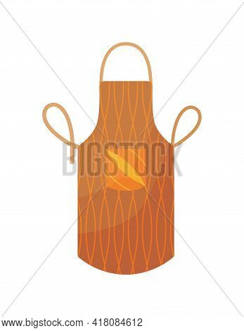 Kitchen Apron In Bright Colours With Pocket And Design Form. Colorful Protective Garment With Patter