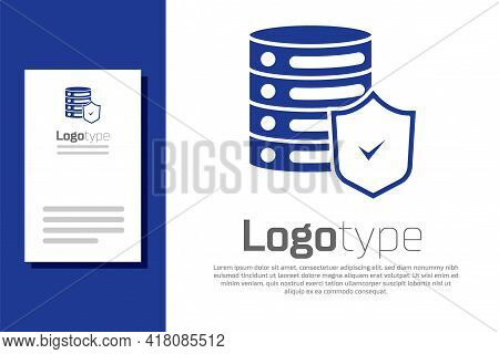 Blue Server With Shield Icon Isolated On White Background. Protection Against Attacks. Network Firew