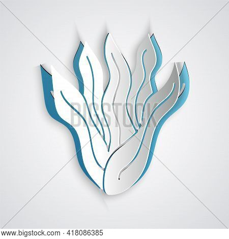 Paper Cut Seaweed Icon Isolated On Grey Background. Underwater Seaweed Spirulina, Aquatic Marine Alg