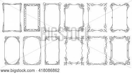 Decorative Frames. Vintage Calligraphic Antique Borders. Ornate Calligraph Rectangle Frames, Wedding