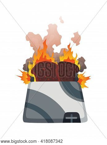 Broken Home Appliances. Damaged Toaster. Domestic Icon Isolated On White. Burning Electronic. Homeap