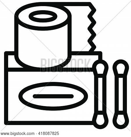 Tissue Paper And Cotton Swab Icon, Supermarket And Shopping Mall Related Vector Illustration