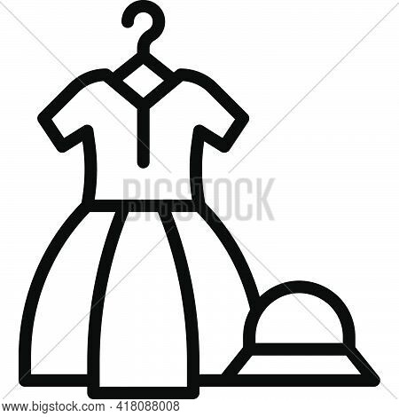 Dress And Hat Icon, Supermarket And Shopping Mall Related Vector Illustration