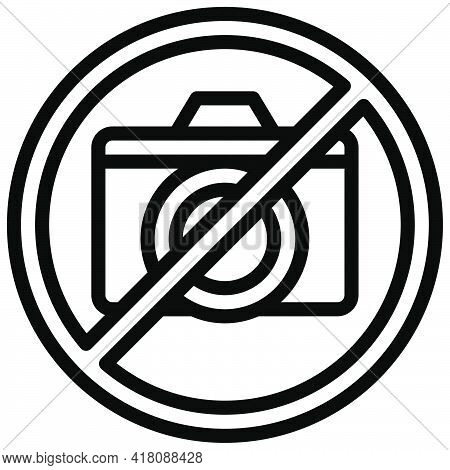 No Photography Sign Icon, Supermarket And Shopping Mall Related Vector Illustration