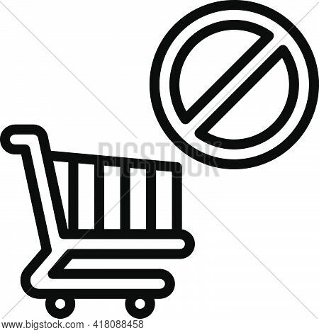 No Shopping Cart Allowed Icon, Supermarket And Shopping Mall Related Vector Illustration